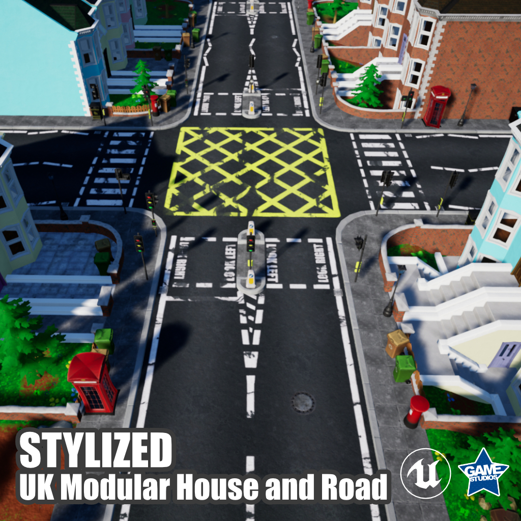 Stylized UK Modular House and Road