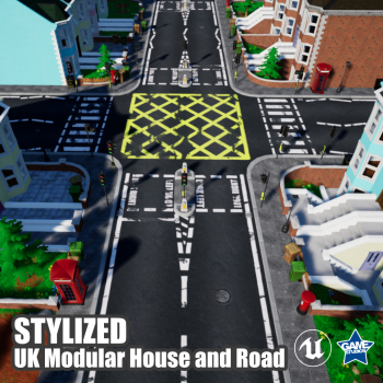 Stylized UK Modular House and Road Pack for UE4