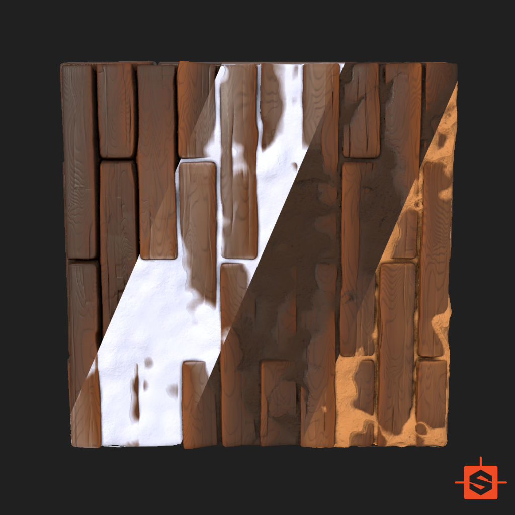 SGS Stylized Wood Floor with Sand and Snow