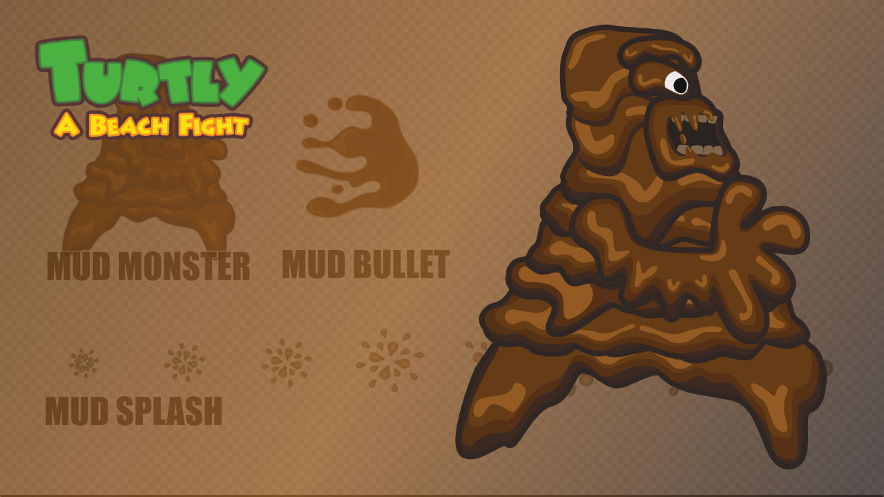 2d Mud Monster Character - Turtly - A Beach Fight