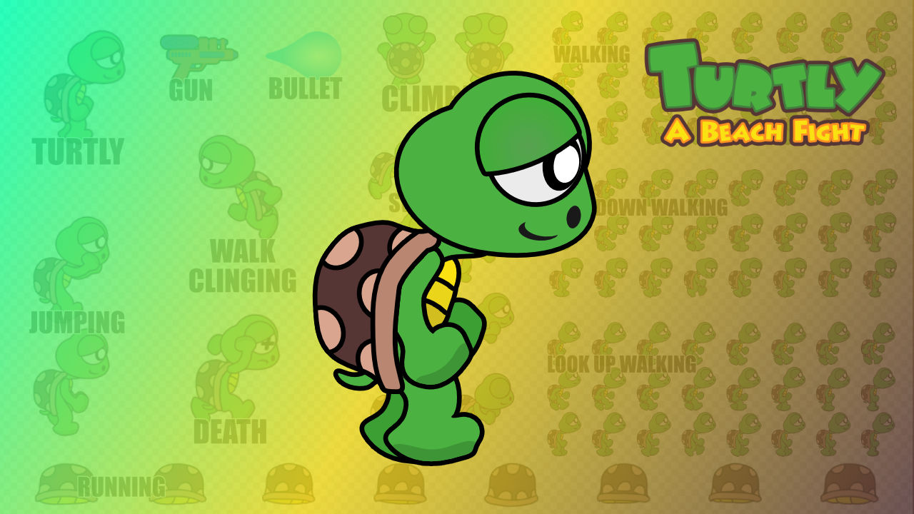 2d Turtle Character - Turtly - A Beach Fight