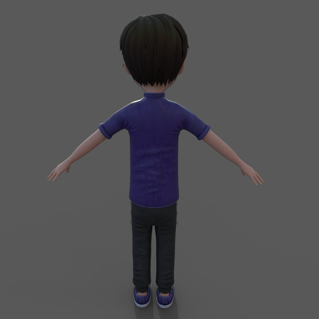 3d Boy Character Hypnotized Back