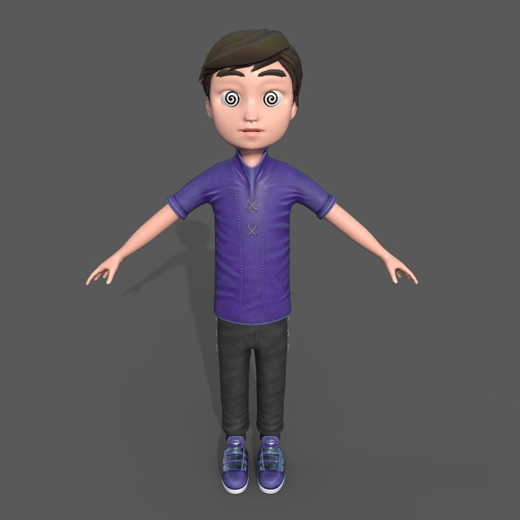 3d Boy Character hypnotized Front
