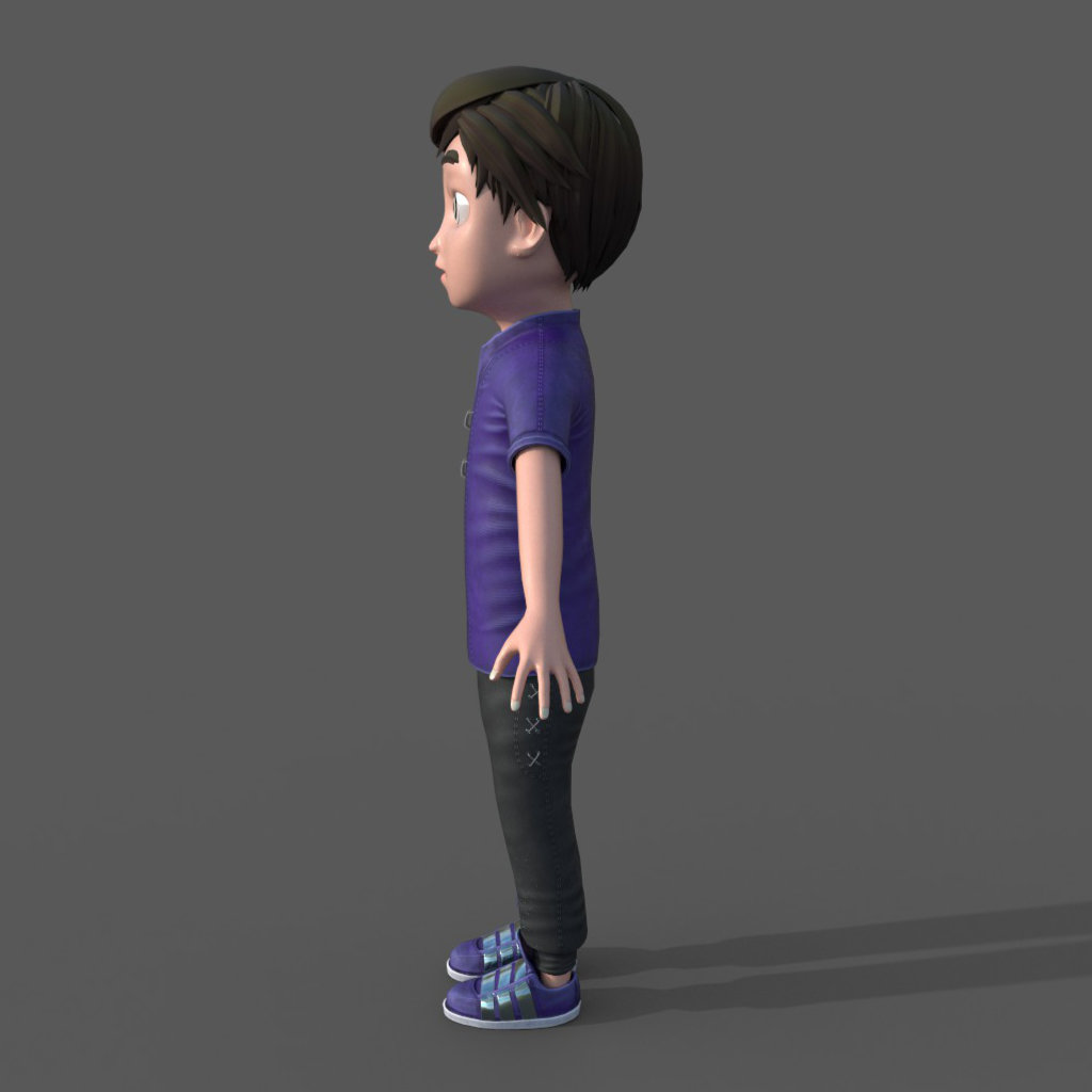 3d Boy Character Hypnotized Side